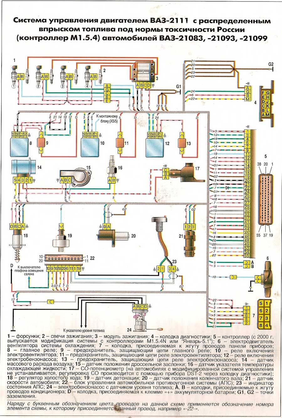 электрическая схема вентиляторов ваз 2114
